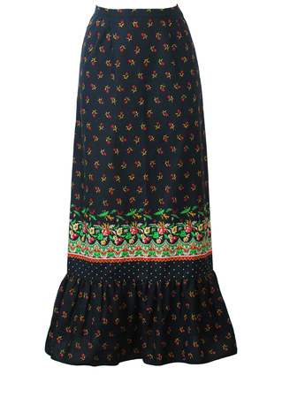 Vintage 70's Black Maxi Skirt with Red, Green & Yellow Ditsy Print and Ruffle Hem - XS/S