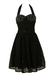 Vintage 1980's Black Lace Halterneck Party Dress with Pearls & Sequins - S