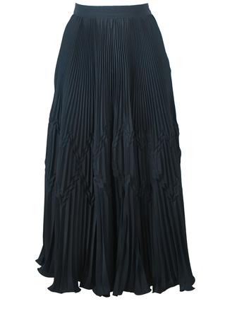 Black Concertina Multi Pleated Flared Midi Skirt with Geometric Textured Pattern - S