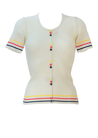 Vintage 70's Short Sleeved White Knit Top with Yellow, Red & Blue Stripe and Button Detail - XS/S