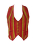 Suede Waistcoat with Yellow, Orange and Red Stripes - M