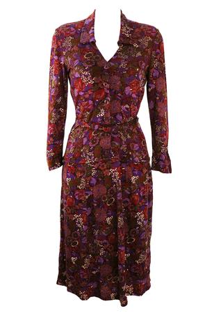Vintage 1970's Floral Patterned Belted Dress in Purple & Green - S/M
