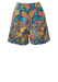 Patterned Shorts with Faces & Flowers Imagery in Orange, Yellow & Blue - S
