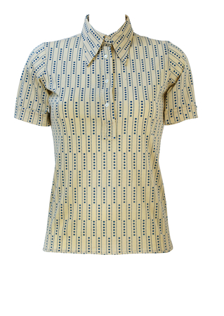 Vintage 70's Cream & Blue Short Sleeved Top with Polka Dot Pattern - S - New/Deadstock