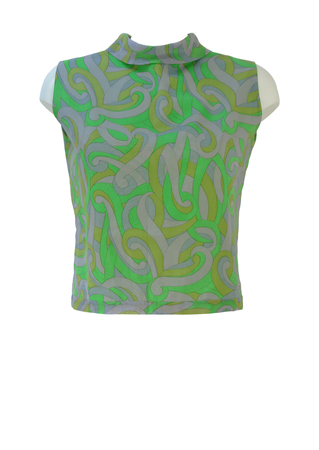 Vintage 60's Green & Lilac Psychedelic Print Sleeveless top - M