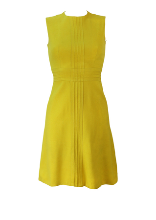 Vintage 60's Lemon Yellow Sleeveless Above the Knee Dress - XS
