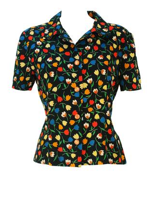 Vintage 60's Short Sleeved Black Blouse with Multicoloured Floral Tulip Pattern - M/L