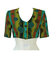 Ethnic Patterned Multi Button Short Sleeved Crop Top in Olive, Russet & Turquoise - S