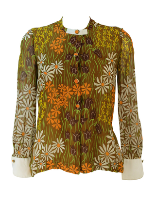 Vintage 70's Brown, Orange, Yellow & White Floral Blouse with Sheer Sleeves - S/M