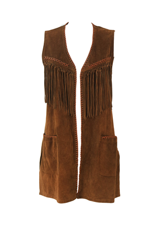 Hippy Boho Style 3/4 Length Brown Suede Waistcoat with Fringe Tassels & Stitch Detail - M
