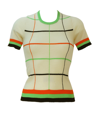 Vintage 70's Cream Short Sleeved Stretch Top with Orange, Green & Brown Grid Pattern - XS/S