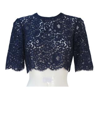Vintage 60's Blue Floral Lace Short Sleeved Crop Top - S