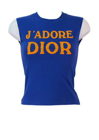 Christian Dior Blue Sleeveless Fitted T-shirt with 'J'adore Dior - World Champion 1947' Yellow Wording - XS/S