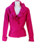 100% Silk Fuchsia Pink Wrap Around Long Sleeved Top with Ruched Collar Detail - S/M