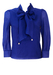 Royal Blue Pussy Bow Blouse with Pearl & Sheer Sleeves Detail - M