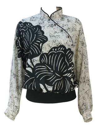 Black & White Oriental Style Top with Large Lotus Leaves Print - M/L