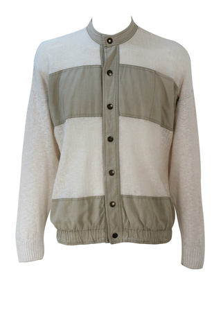 Multi textured Jacket with Cream Loose Knit & Grey Cotton Panel Detail - M/L