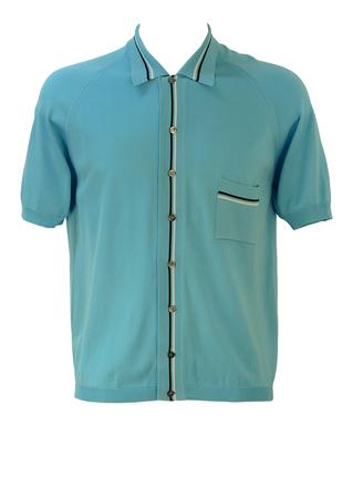 Vintage 60's Italian Light Blue Fine Knit Polo Shirt with Fine Stripe Detail - M/L