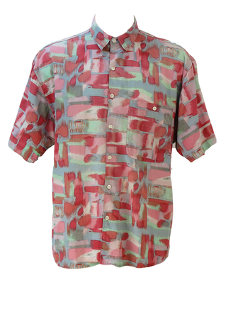 Vintage 90's Short Sleeved Shirt with Pink, Grey and Green Painterly Abstract Pattern - L/XL