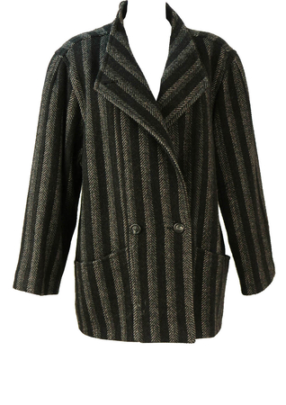 Vintage 80's Oversized Wool Coat with Black & Grey Stripes - M/L