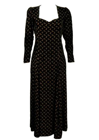 Full Length Black Velvet Dress with Metallic Gold Floral Pattern - M