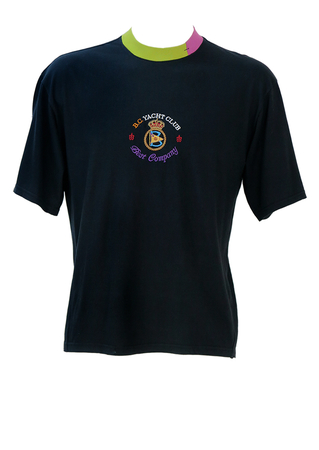 Best Company Black T-Shirt with Embroidered Yacht Club Emblem & Two Tone Collar - M/L