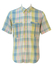 Short Sleeved Check Shirt in Yellow, Blue, Pink & Green Pastel Tones - M/L