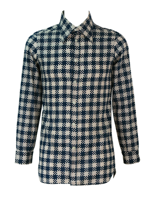 Vintage 60's Shirt with Navy Blue & White Chequered-Style Pattern - S
