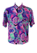 Vintage 90's Short Sleeved Shirt with Purple, Pink, Green & Turquoise Abstract Pattern - M/L