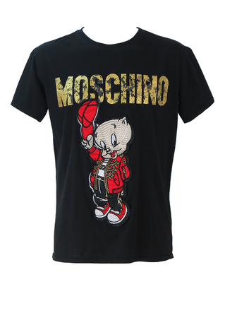 Moschino Couture! Looney Tunes Porky Pig - Year of the Pig Black T-shirt - L