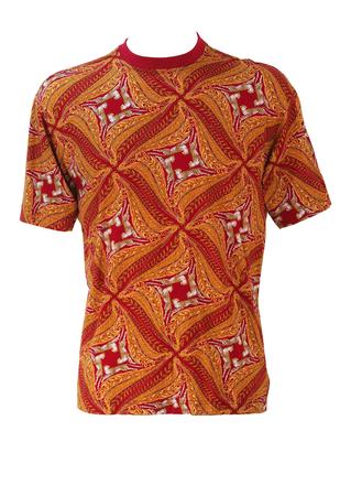 Salvatore Ferragamo Red & Gold Cheetah Motif T-Shirt - M