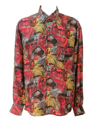 Vintage 90's Long Sleeved Silk Shirt with Red, Yellow, Brown & Grey Abstract Pattern - L/XL