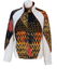 Australian by L'Alpina White Track Jacket with Orange, Red & Black Tribal-like Pattern - L/XL
