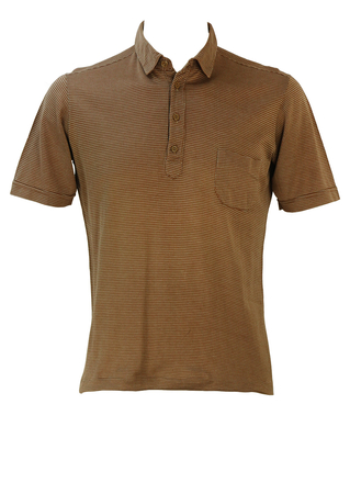 Vintage 60's Camel Coloured Polo Shirt / Top with White Mini Polka Dots - M