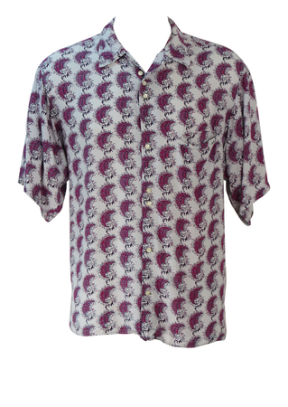Vintage 90's Oversize White Short Sleeved Shirt with Purple Crescent Shaped Motifs - 90's S or L/XL