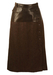 Escada Leather & Pure New Wool Brown Skirt - S/M
