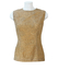 Vintage 60's Beige Sleeveless Floral Lace Top with Scoop Back Detail - M