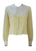 Cream Silk Blouse with White Floral Lace Detail - M