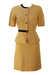 Sand Coloured Short Sleeved Jacket & Skirt Two Piece with Black Band Detail - S