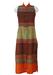 Full Length Silk Sleeveless Kaftan with Brown, Green & Orange Ethnic Striped Pattern & Side Splits- S/M