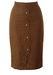 Brown Midi Pencil Skirt with Scalloped Edge Detail & Decorative Gold Buttons - S