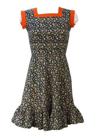 Vintage 70's Navy Blue Petite Mini Dress with Orange, Yellow & Green Ditsy Floral Print - XS