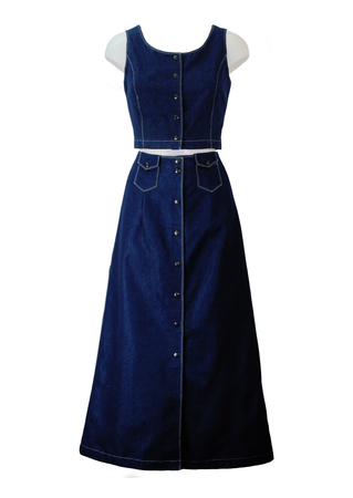 Vintage 70's Style Denim Blue Maxi Skirt & Sleeveless Crop Top Two Piece - S