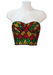Sequin Bustier Crop Top with Red, Yellow and Green Harlequin Pattern - S/M