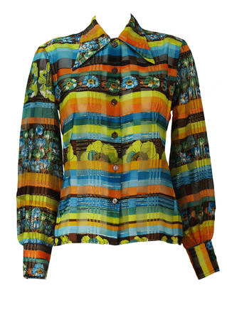 Vintage 70's Semi Sheer Orange, Brown, Blue & Yellow Floral Blouse with Metallic Gold Thread - M