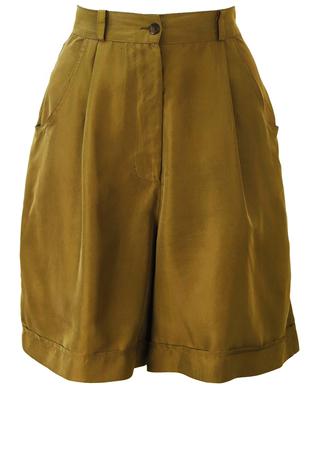 Olive Green Silk Culotte Shorts - S/M