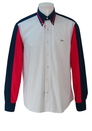 Harmont & Blaine White Shirt with Pink & Blue Sleeve & Collar Detail - M/L