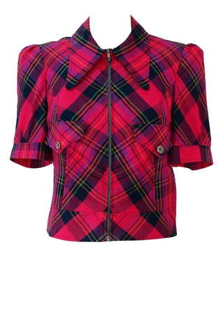 Vintage 70's Short Sleeved Cropped Zip Front Jacket with Pink, Purple & Blue Tartan Pattern - S