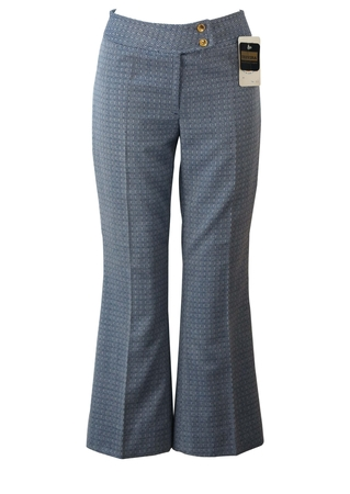 Vintage 70's Blue & White Intricately Patterned Kick Flare Trousers - Unused - S