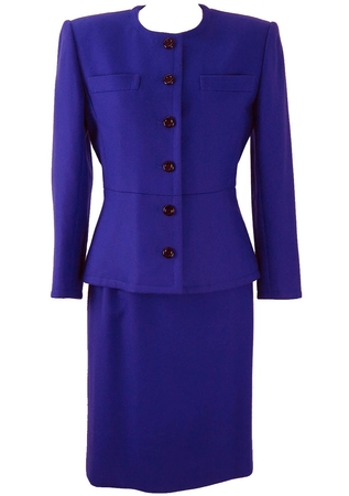 Electric Blue Tailored Two Piece Suit - S/M